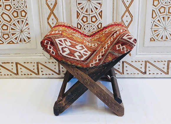 Handmade Turkish Teahouse Stool Kilim - Tribal Red