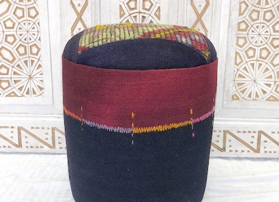 Vintage Kilim Pouf - midnight navy +burgundy