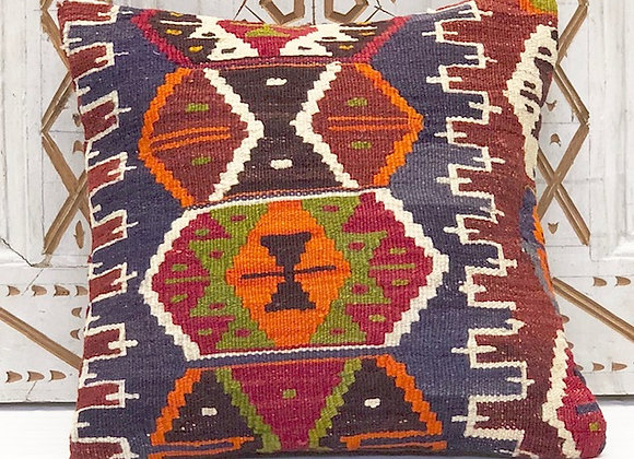 VintageTurkish Kilim Pillow - Blue Medallion 40 x 40 cm
