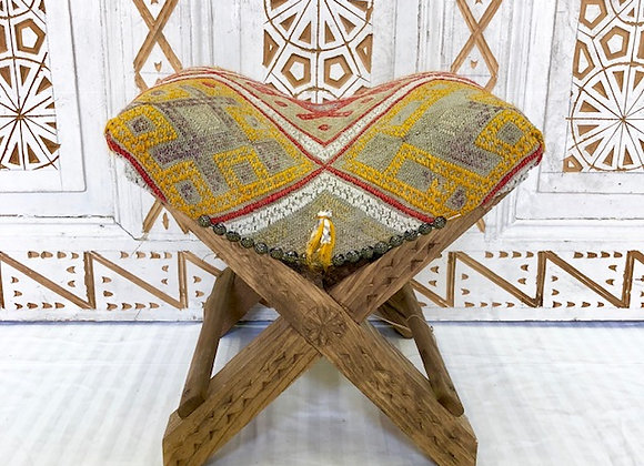 Handmade Turkish Teahouse Stool -  Subtle yellow & Grey