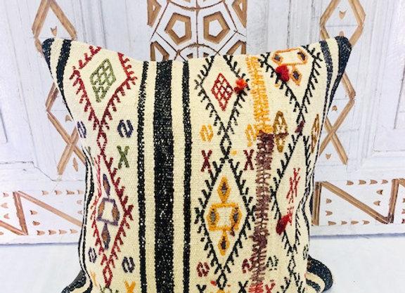 Vintage Boho Kilim Cushion - Undyed wool with  coloured nomadic motifs