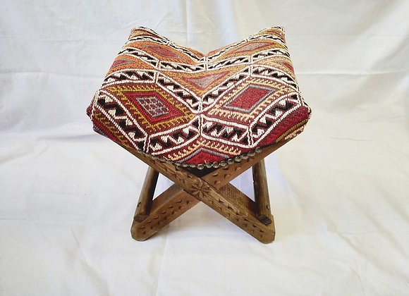 Boho Turkish Teahouse Kilim Stool - Handmade