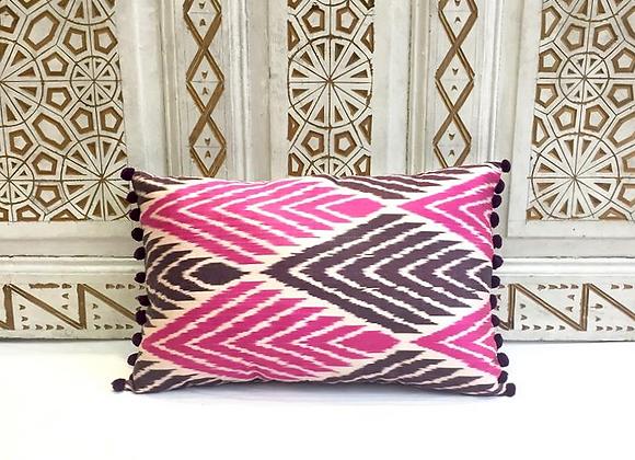 Handwoven IKAT Pillow                                             Pompom details