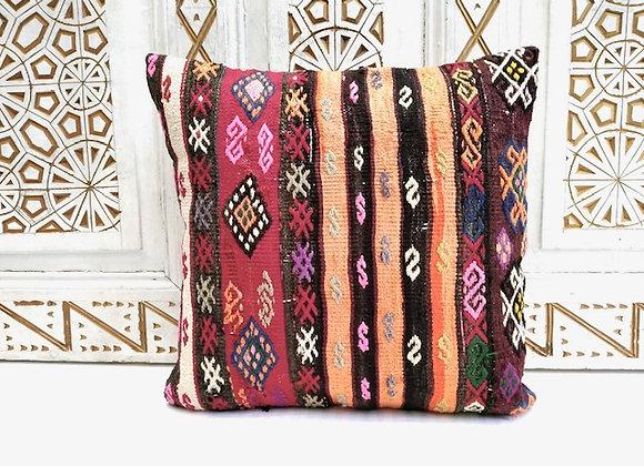 Vintage Turkish Kilim Cushion -  40 x 40 cm detailed stripes