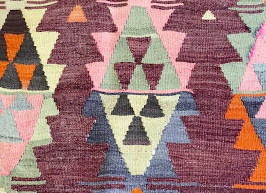 Vintage Square Ordu Kilim  - Unique Color combinations
