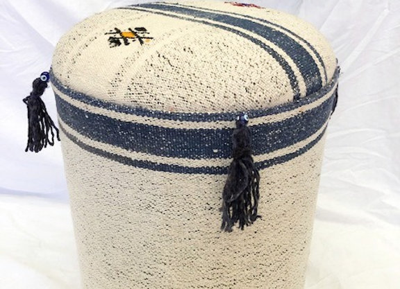 Vintage Kilim Pouf -Blue & White with tassels
