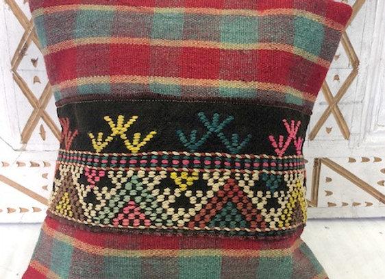Vintage Boho Kilim Pillow -  hand stitched banding
