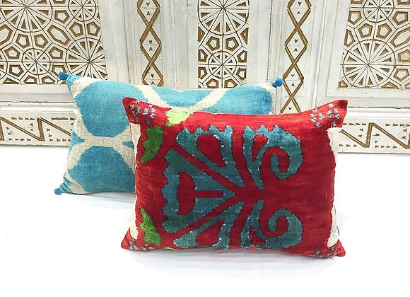 Handwoven IKAT Pillow                                                     Velvet