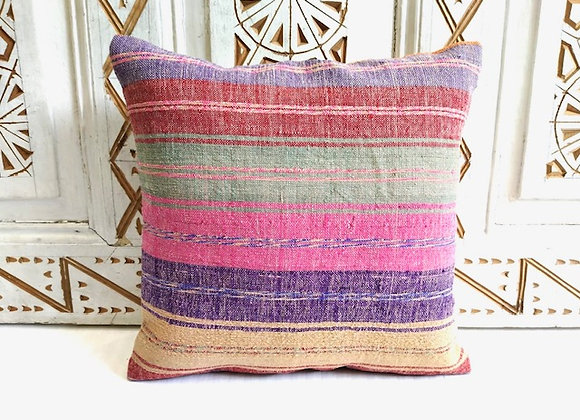 Turkish Boho Kilim Cushion  Fine Candy Stripe
