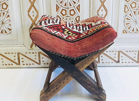 Handmade TurkishTeahouse Stool - Boho Red