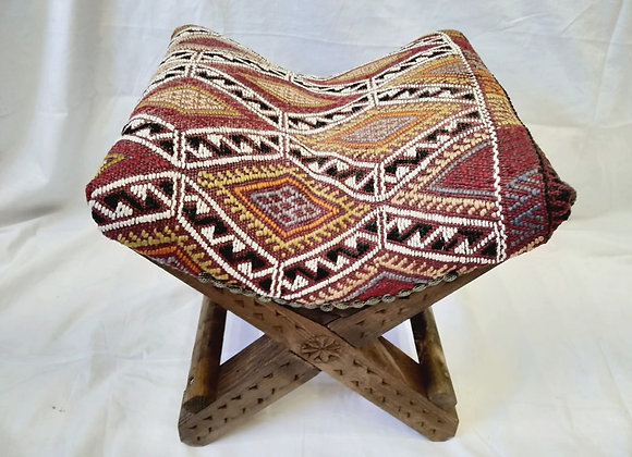 Handmade Turkish Teahouse Kilim Stool