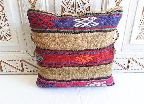 Vintage Turkish Kilim Pillow Bold striped -Earth