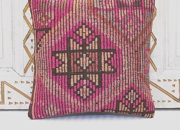 VintageTurkish Kilim Pillow-Nomadic textured star
