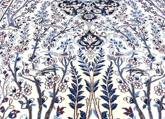 Pictorial Nain Palace Carpet with Slk Highlights