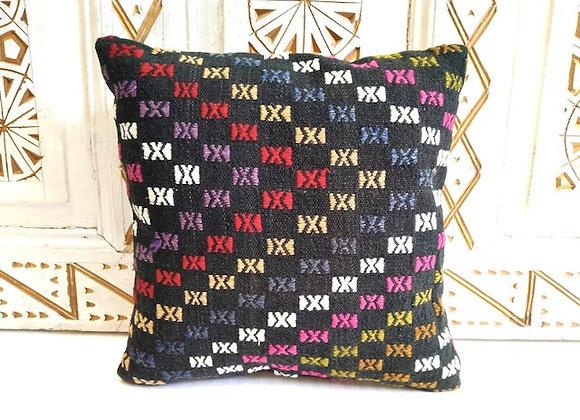 Boho Vintage Kilim Throw Pillow - Black/multi color details