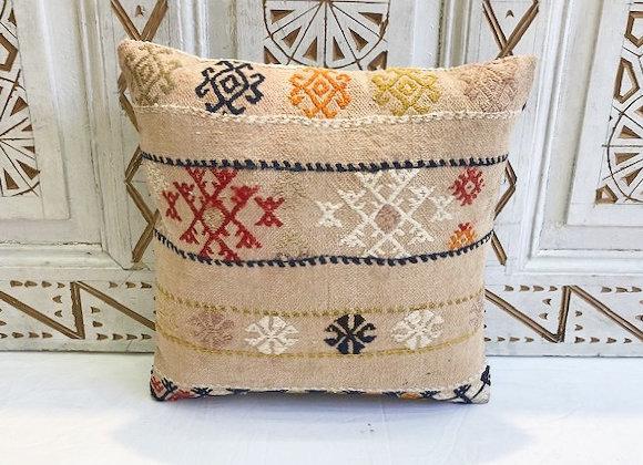 Vintage Turkish Boho Pillow         40x40cm Flax flowers