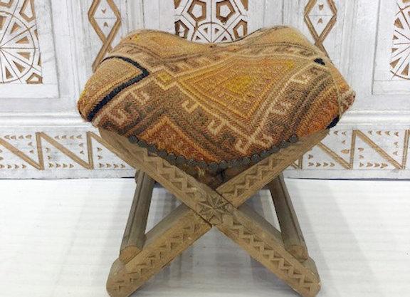 Turkish Teahouse stools - Wood + Vintage Kilim