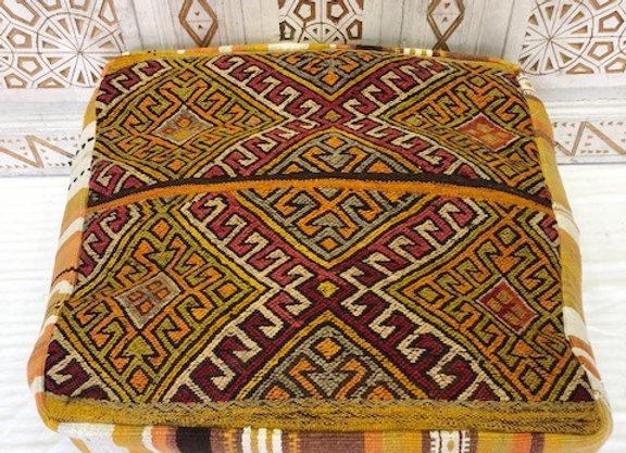 Vintage Kilim Floor Pouf  - Square