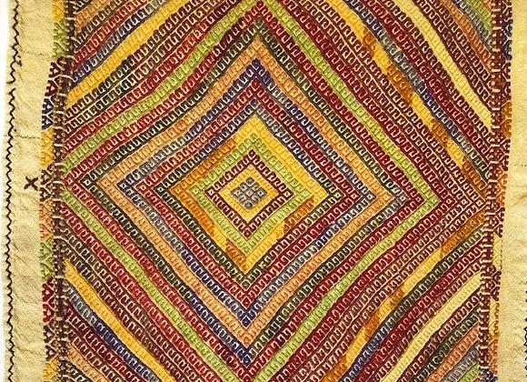 Vintage nomadic eating Kilim  - Fine multicolour