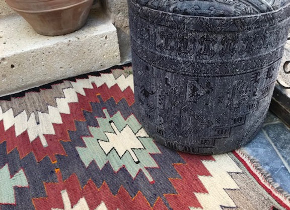 Distressed Blue- Vintage Kilim Pouf