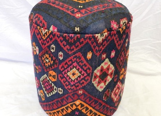 Pouf with stunning vintage kilim - Navy & Pink