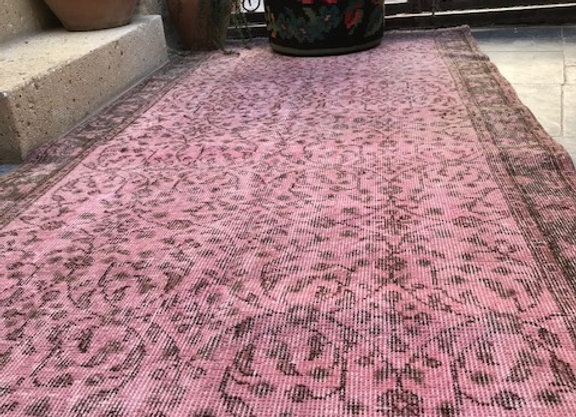 Overdyed Vintage Rug - Great size and gorgeous color !