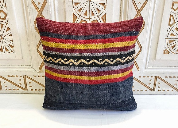 Vintage Turkish Boho Pillow         40x40cm Indigo Bold stripe
