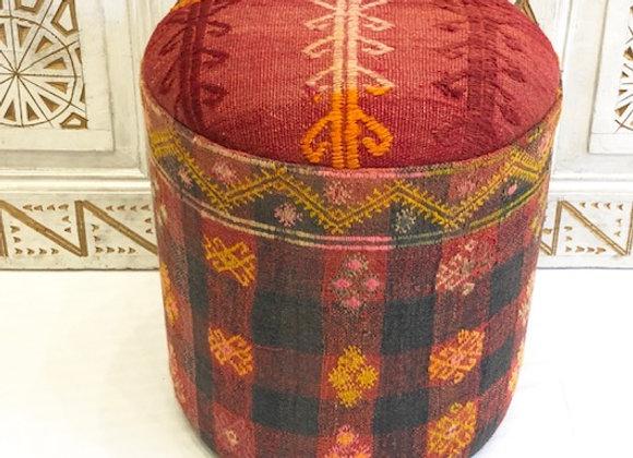 Vintage Kilim Pouf - Crimson Blush