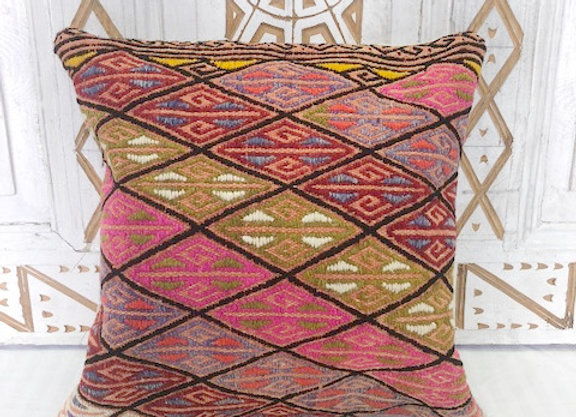 Vintage Boho Kilim Pillow - Finely detailed