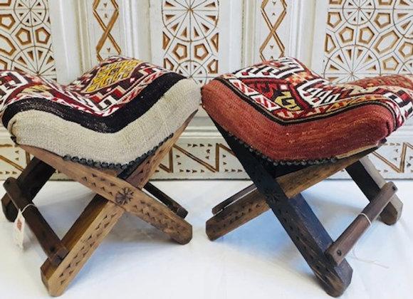 Handmade TurkishTeahouse Stool - Boho Beige
