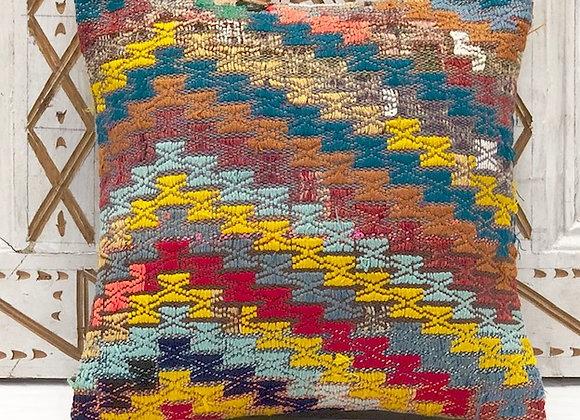 VintageTurkish Kilim Pillow- Bright 40 x 40 cm