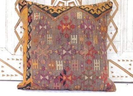 Vintage Turkish Kilim Cushion - Aubergine & a splash of pumpkin