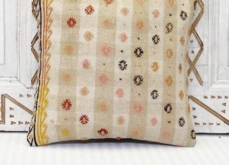 Vintage Turkish Kilim Cushion -Natural with highlights