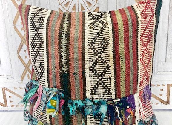 Vintage Boho Kilim Pillow -40 x 40  Fabric Tassels