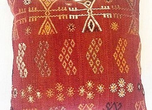 VintageTurkish Kilim Cushion -Nomadic Cicim - Flowers