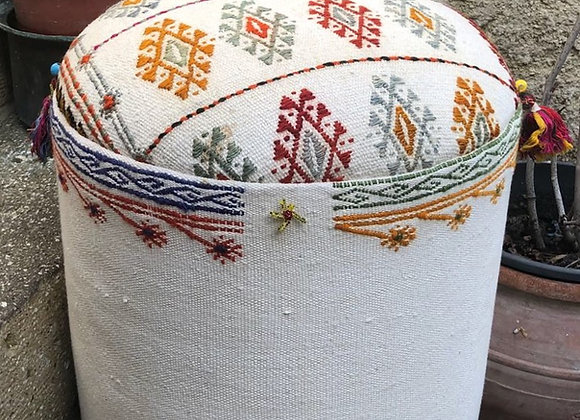 Beaded and Tassled White Pouf