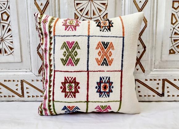 Vintage Turkish Boho Pillow      'Woven star flower'