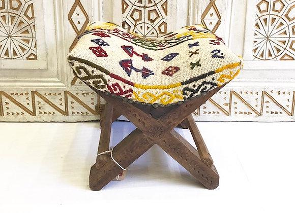 Vintage Kilim Teahouse stool -Natural with nomadic motifs