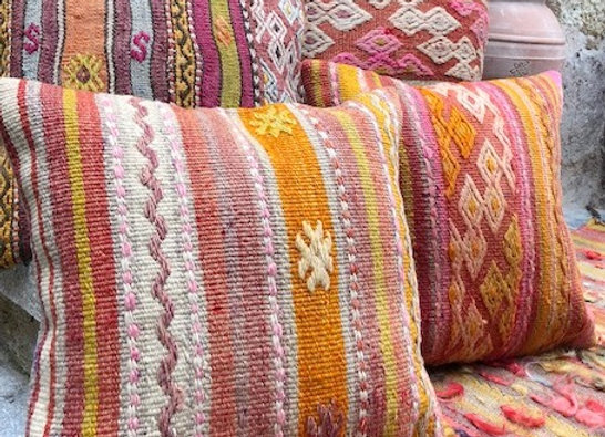 Pastel Boho Vintage Kilim Pillow x 4  Sunrise Stripe
