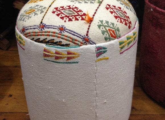Beaded and tassles -  White Vintage Kilim Pouf