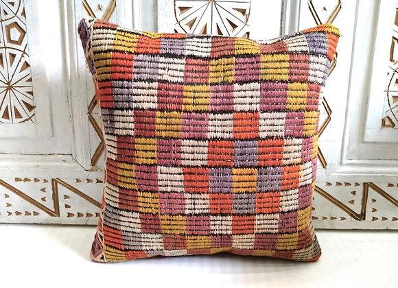 Vintage Boho Kilim Pillow -Geometric blocks