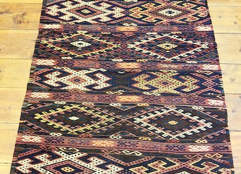 Vintage Malatya Kurdish Hall Runner -  Tribal earth tones