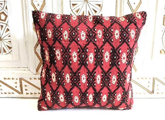 Turkish Kilim Throw Pillow           40 x 40 cm Fire Flower