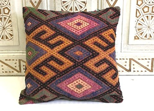 Vintage Turkish Kilim Pillow -Medium large 50cm x 50cm