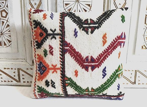 Vintage Kilim Throw Pillow - White Motif