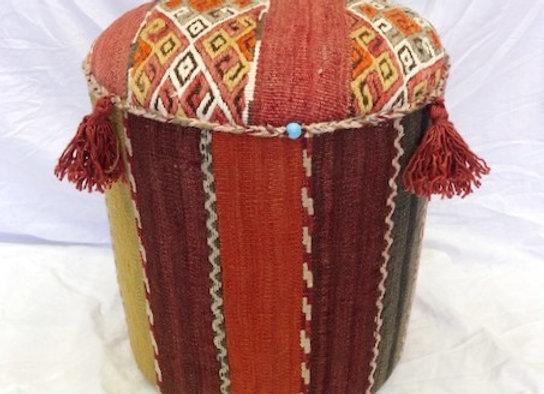 Vintage Kilim Pouf - Wild stripeBoho with tassels