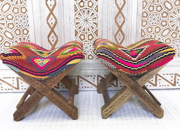 Handmade Turkish Teahouse Stool x 2 - Bright Days