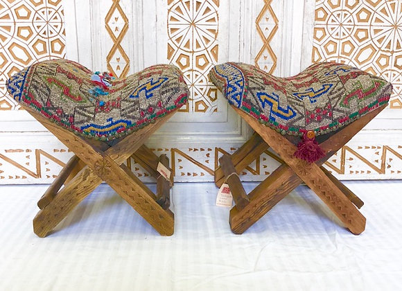 Handmade TurkishTeahouse Stool x2  - Grey with Tassels