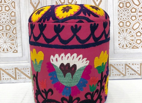 Vintage Suzani upholsted Pouf  x 2  - Tulip Design