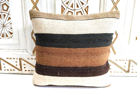 Vintage Kilim Pillow - Bold Natural Stripe